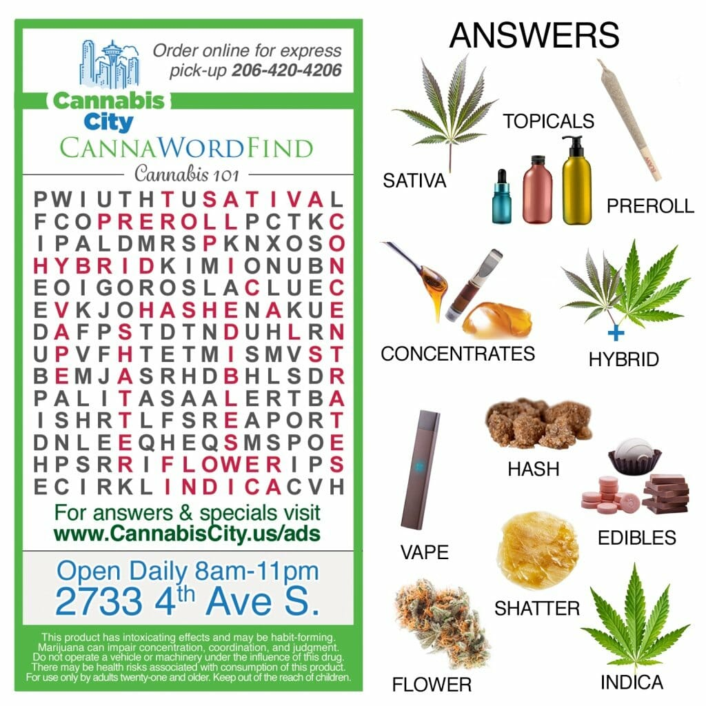 Cannabis city, cannabis games, crosswords, wordfind, cannabis facts, cannabis knowledge